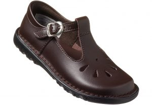 Brown T-Bar School Shoe for girls