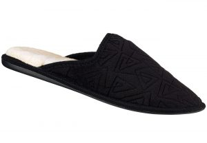 Black Embroidered Velour Closed Toe