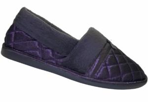 Closed back satin slippers aubergine