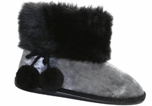 Ladies Pom Pom Boot Slipper